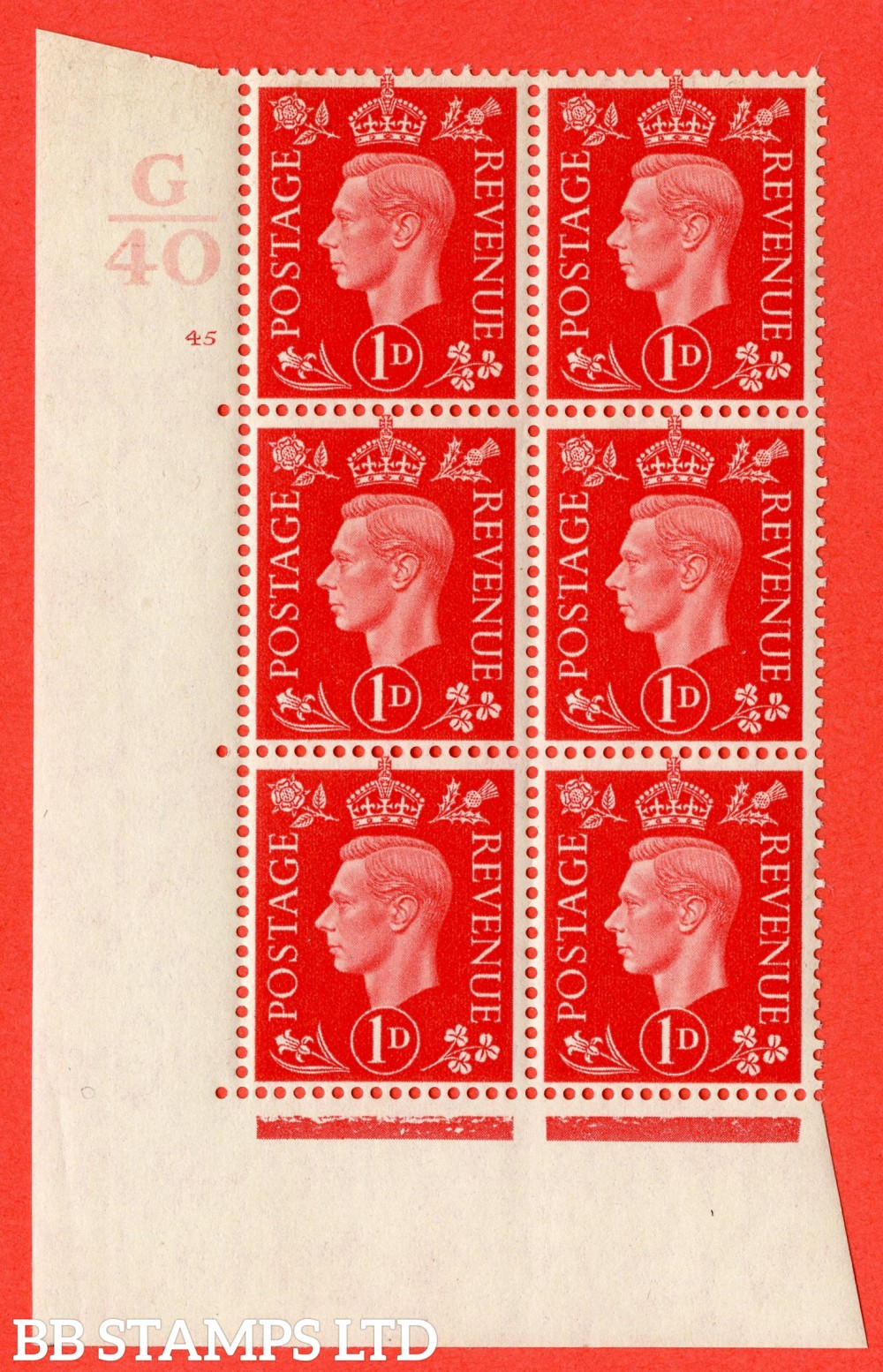 "SG. 463. Q4. 1d Scarlet. A fine lightly mounted mint "" Control G40 cylinder 45 no dot "" block of 6 with perf type 5 E/I."
