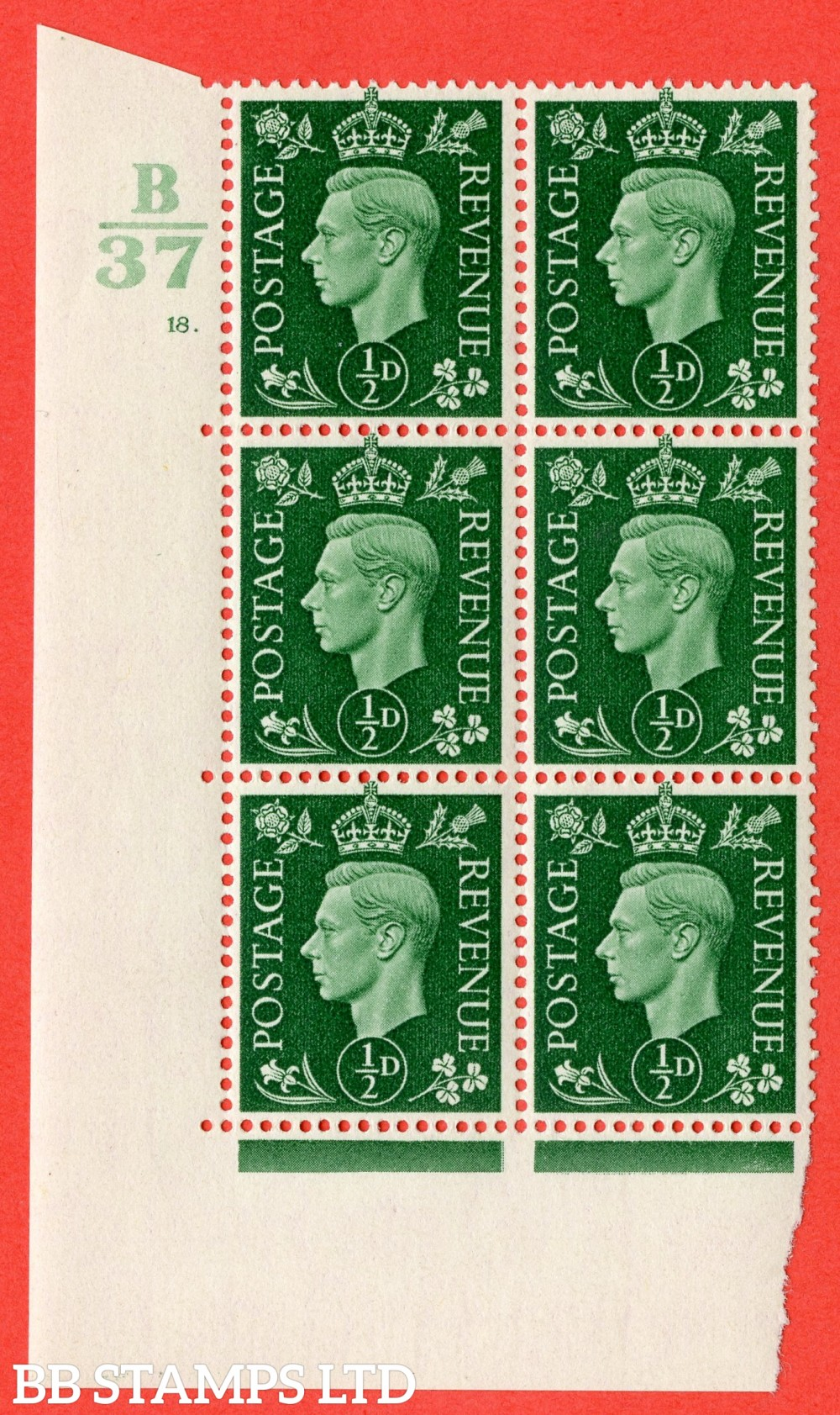 "SG. 462. Q1. ½d Green. A superb UNMOUNTED MINT "" Control B37 cylinder 18 dot "" block of 6 with perf type 5 E/I."