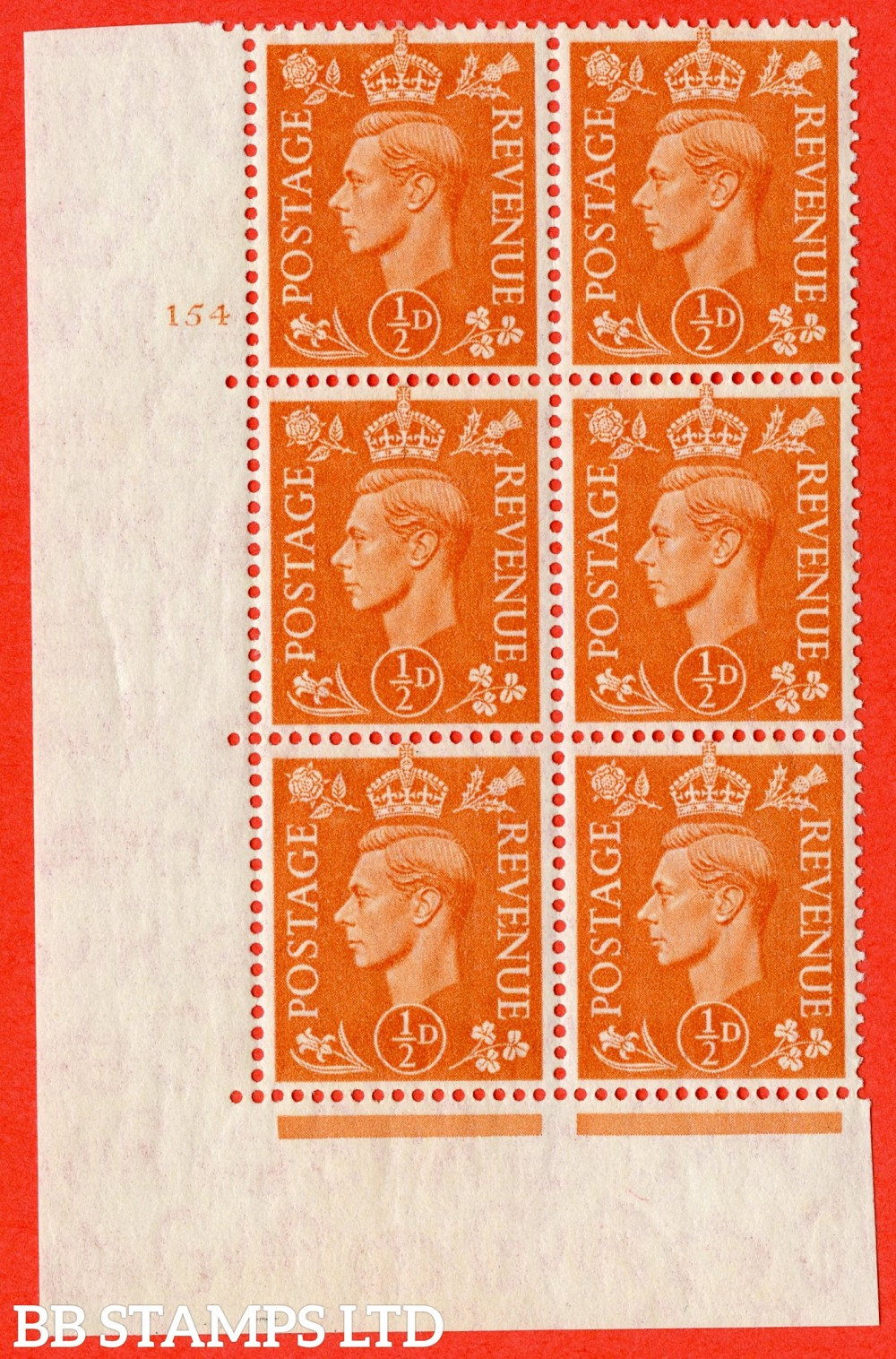 """SG. 503g. Q3. ½d Pale Orange. A superb UNMOUNTED MINT """" No Control cylinder 154 no dot """" control block of 6 with perf type 5 E/I with listed variety """" Broken middle E of REVENUE """" Row 20/1."""