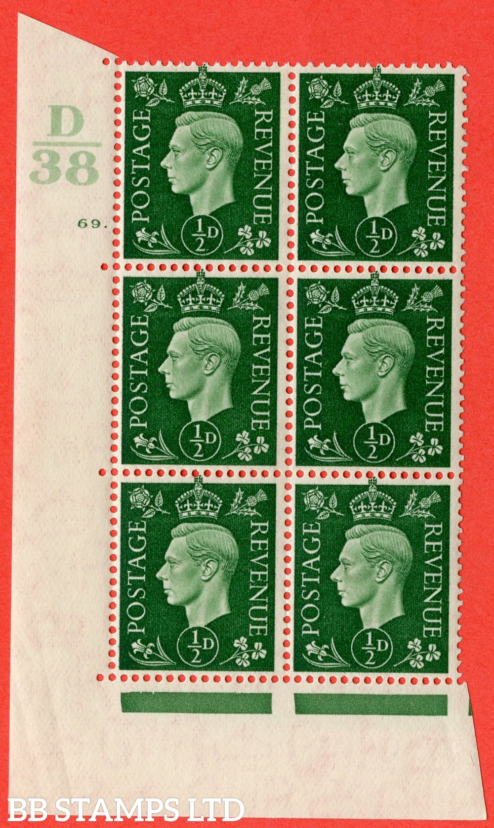 "SG. 462. Q1. ½d Green. A superb UNMOUNTED MINT "" Control D38 cylinder 69 dot "" block of 6 with perf type 5 E/I."