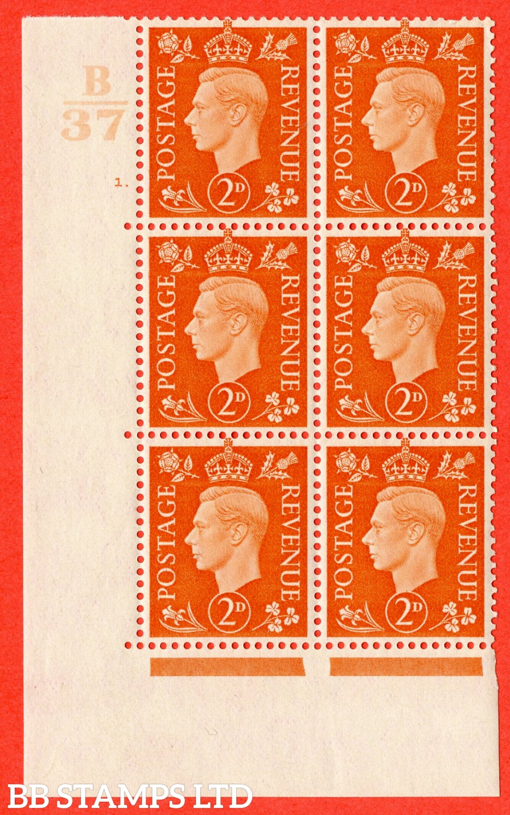 "SG. 465. Q10. 2d Orange. A superb UNMOUNTED MINT"" Control B37 cylinder 1 dot "" control block of 6 with perf type 5 E/I."