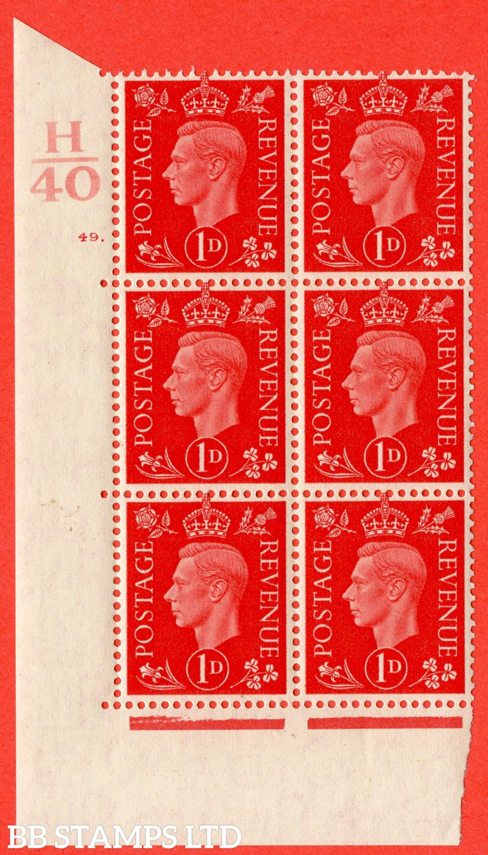"SG. 463. Q4. 1d Scarlet. A superb UNMOUNTED MINT "" Control H40 cylinder 49 dot "" block of 6 with perf type 5 E/I."