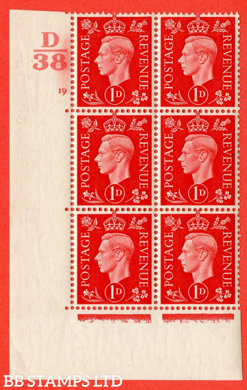 "SG. 463. Q4. 1d Scarlet. A superb UNMOUNTED MINT "" Control D38 cylinder 19 no dot "" block of 6 with perf type 5 E/I."