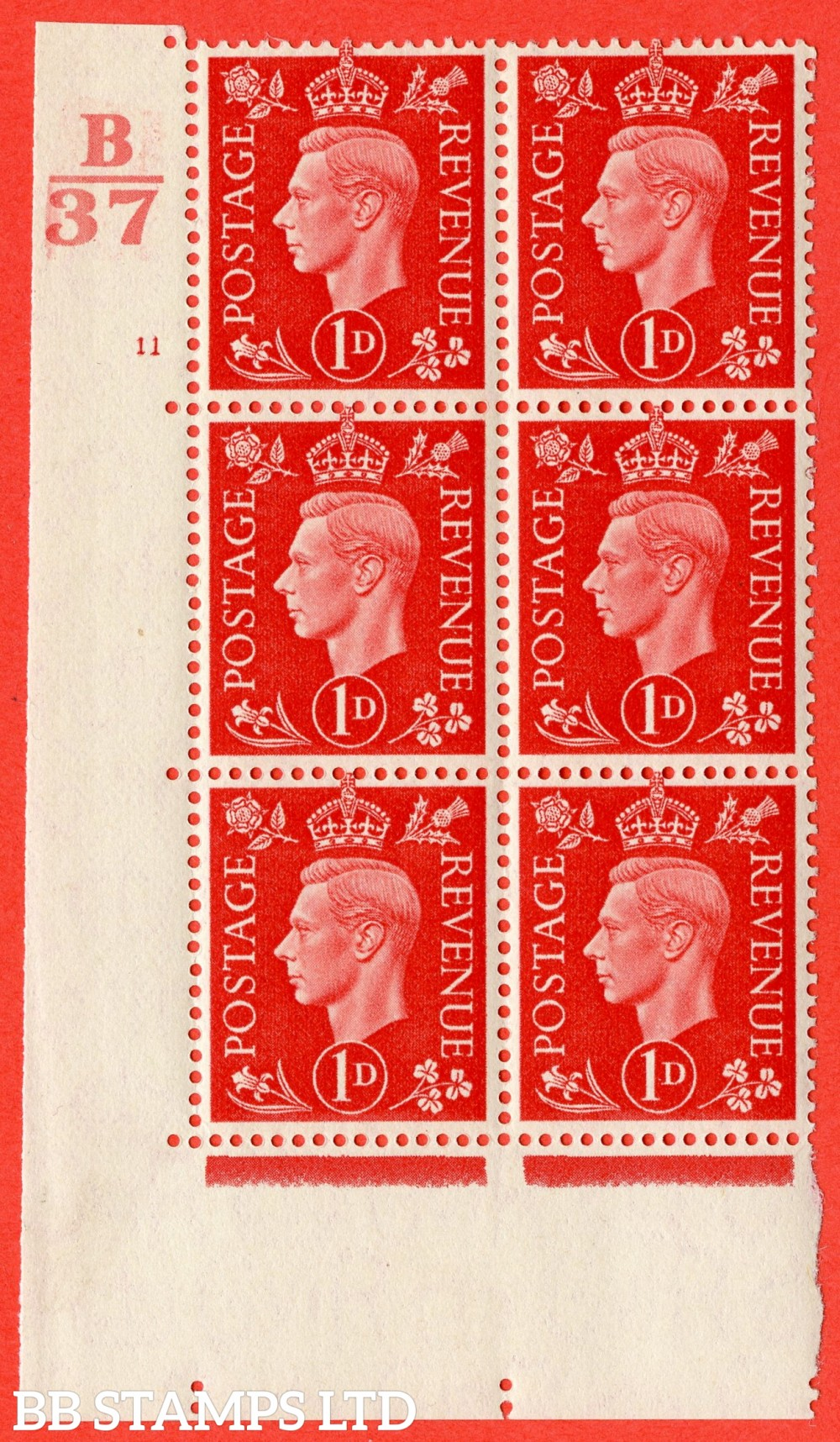 "SG. 463. Q4. 1d Scarlet. A fine lightly mounted mint "" Control B37 cylinder 11 no dot "" block of 6 with perf type 5 E/I."