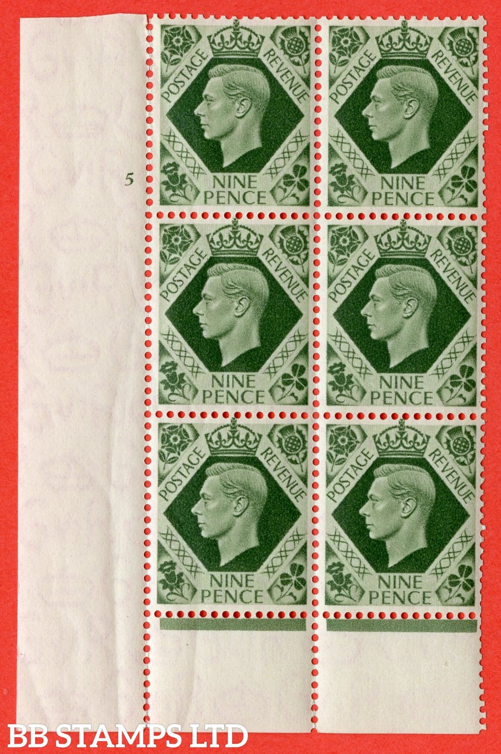 "SG. 473. Q25 b. 9d Olive-Green. A superb UNMOUNTED MINT "" No Control  cylinder 5 no dot "" control block of 6 with perf type 6 I/P."