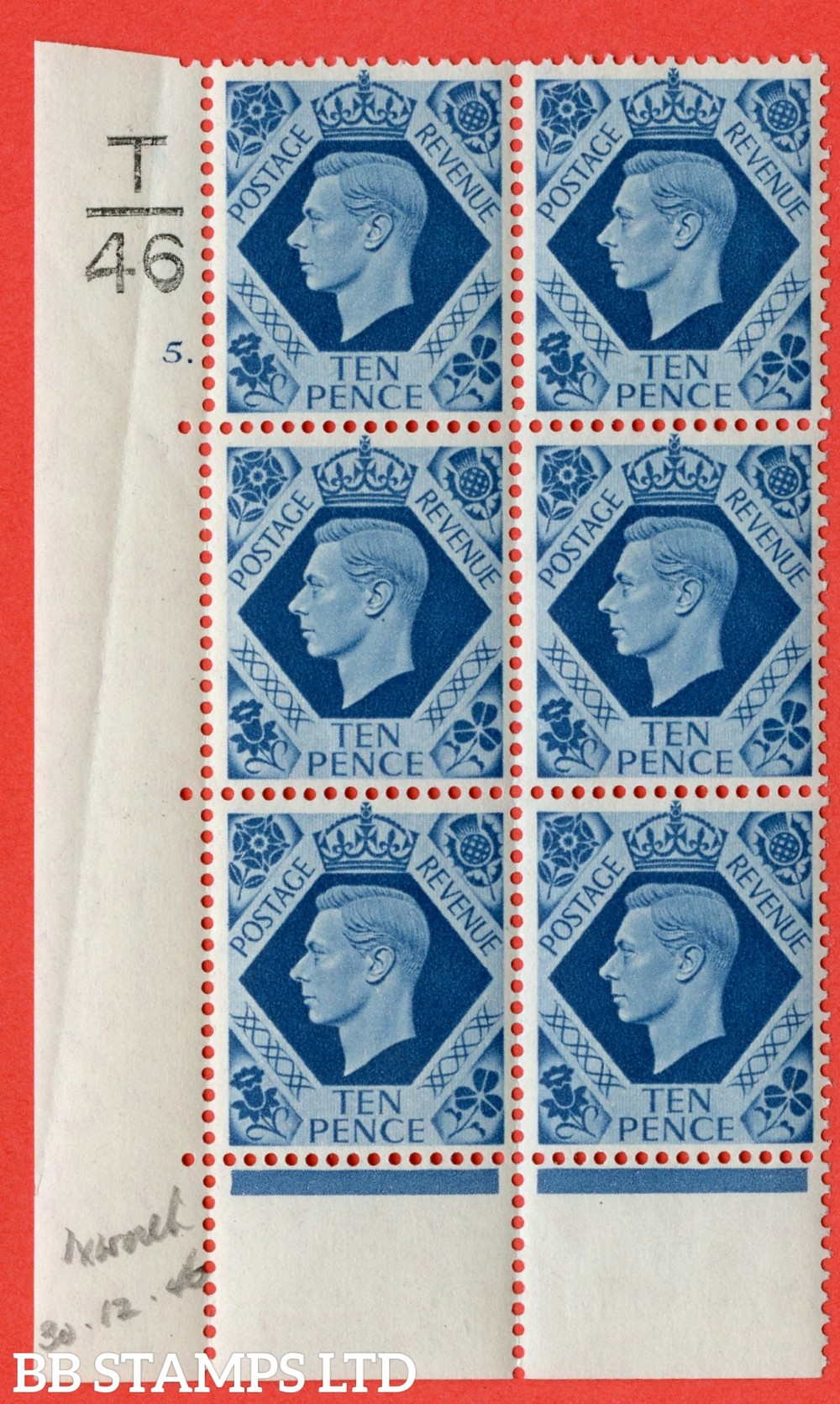 "SG. 474. Q26. 10d Turquoise-Blue. A fine lightly mounted mint "" Control T46 cylinder 5 dot "" control block of 6 with perf type 6B E/P."