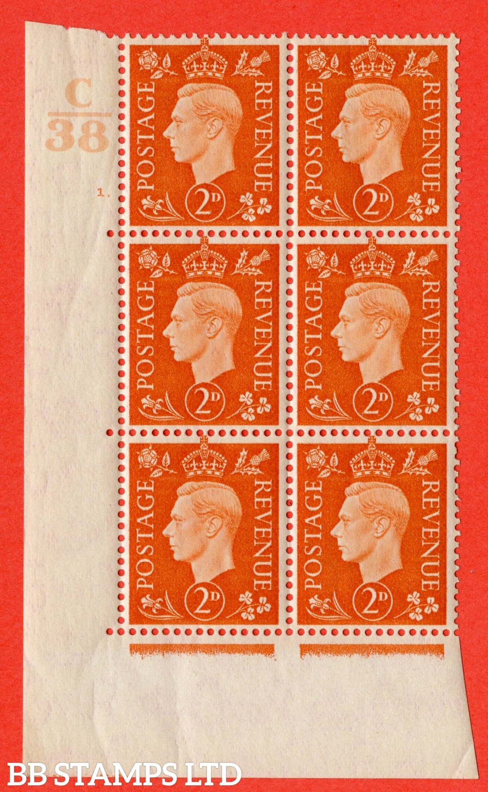 "SG. 465. Q10. 2d Orange. A superb UNMOUNTED MINT "" Control C38 cylinder 1 dot "" control block of 6 with perf type 5 E/I."