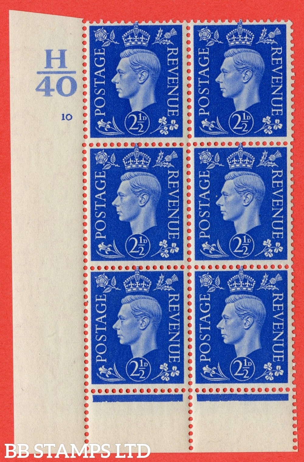 "SG. 466. Q13. 2½d Ultramarine. A fine lightly mounted mint "" Control H40 cylinder 10 no dot "" control block of 6 with perf type 6 I/P."