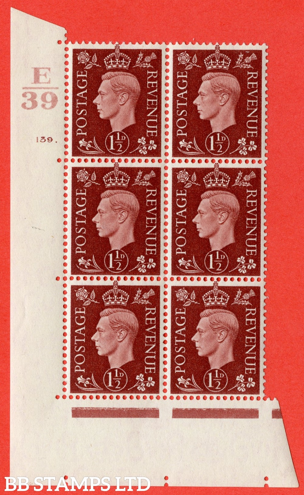 "SG. 464. Q7. 1½d Red-Brown. A superb UNMOUNTED MINT  "" Control E39 cylinder 139 dot "" block of 6 with perf type 5 E/I."