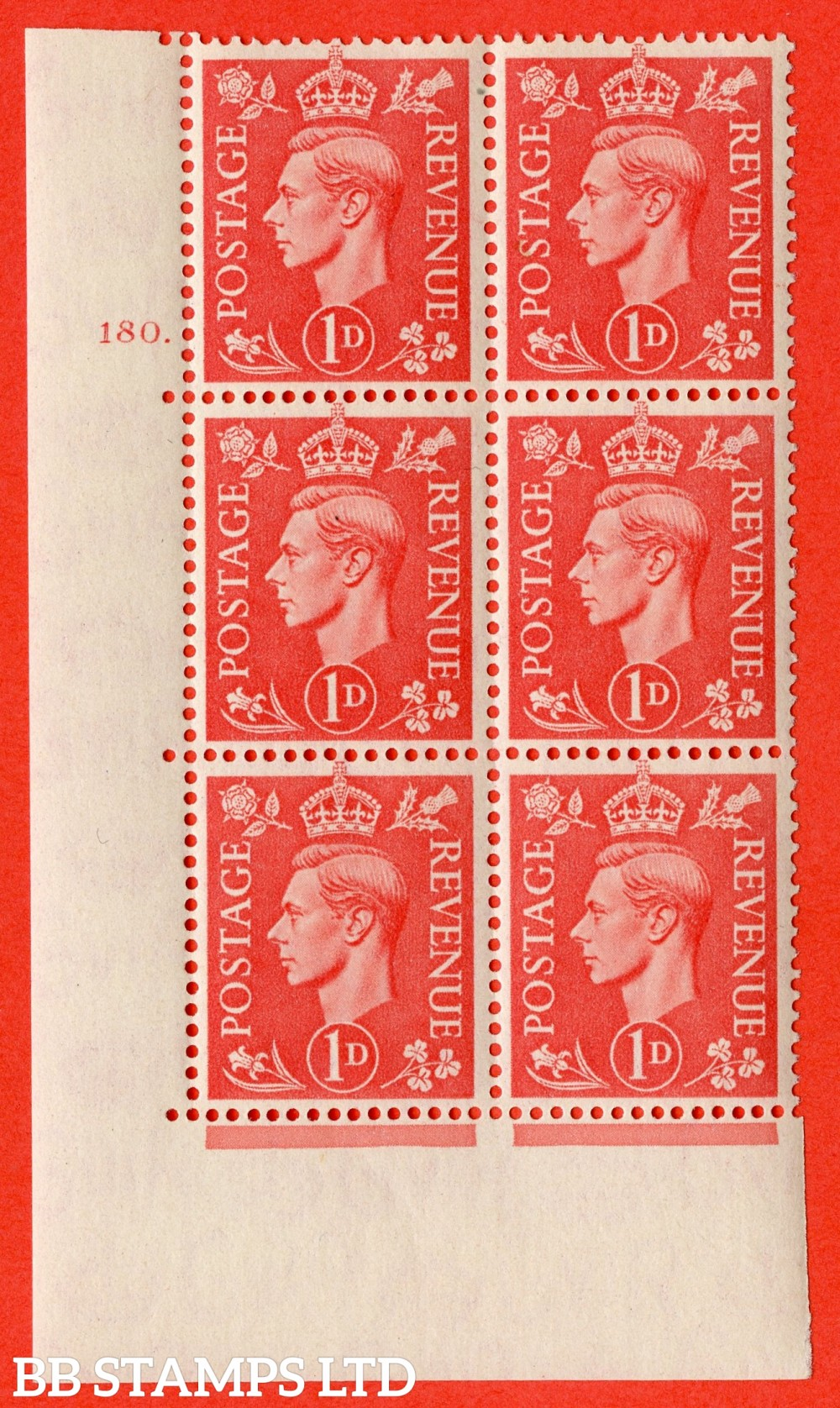 "SG. 486. Q5. 1d Pale scarlet. A superb UNMOUNTED MINT "" No Control   cylinder 180 dot "" control block of 6 with perf type 5 E/I."