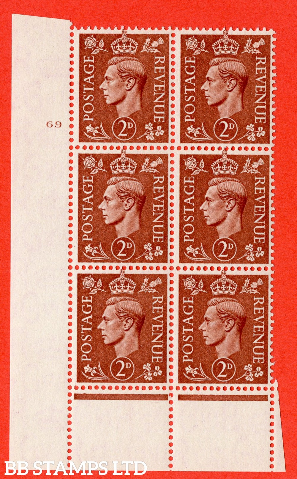 "SG. 506. Q12. 2d Pale Red-Brown. A superb UNMOUNTED MINT "" No Control cylinder 69 no dot "" control block of 6 with perf type 6 I/P."