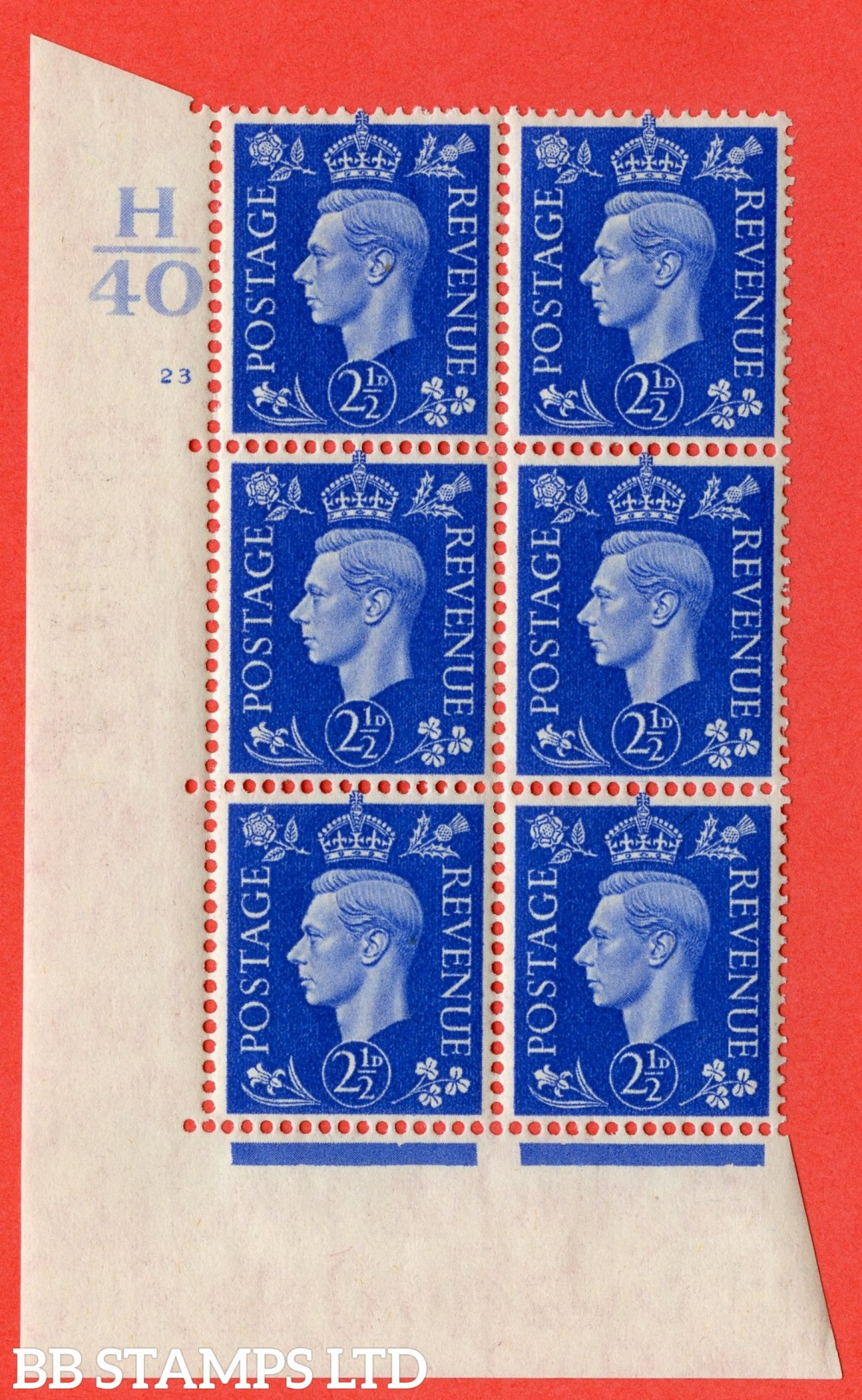 "SG. 466. Q13. 2½d Ultramarine. A fine lightly mounted mint "" Control H40 cylinder 23 no dot "" control block of 6 with perf type 5 E/I."