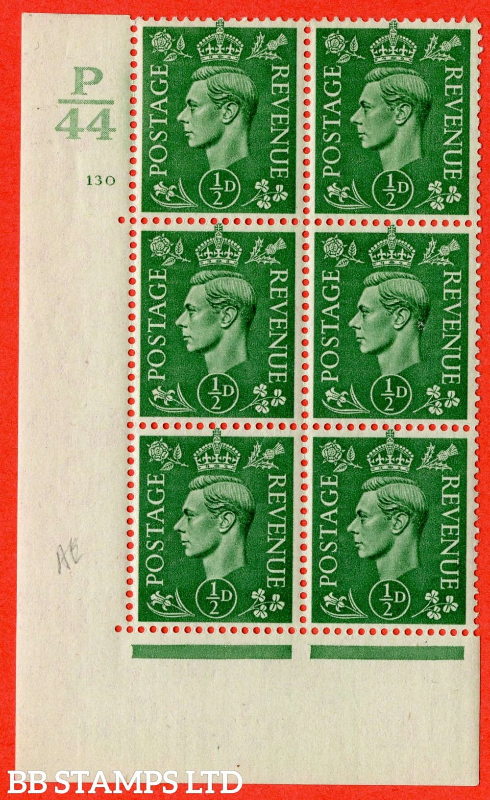 "SG. 485. Q2. ½d Pale Green. A fine lightly mounted mint "" Control P44 cylinder 130 no dot "" block of 6 with perf type 5AE AE/I with marginal rule."