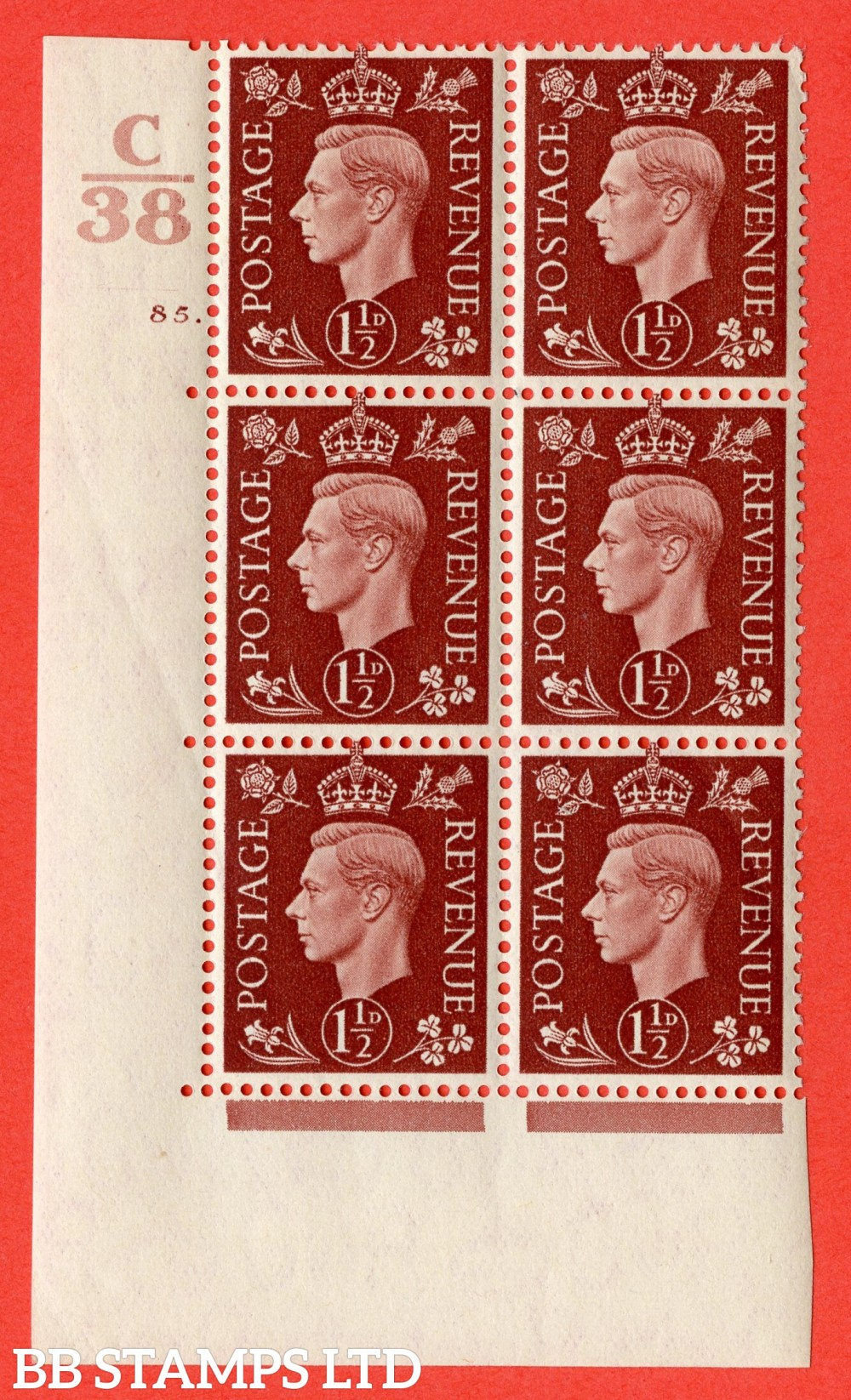 """SG. 464. Q7. 1½d Red-Brown. A superb UNMOUNTED MINT """" Control C38 cylinder 85 dot """" block of 6 with perf type 5 E/I."""