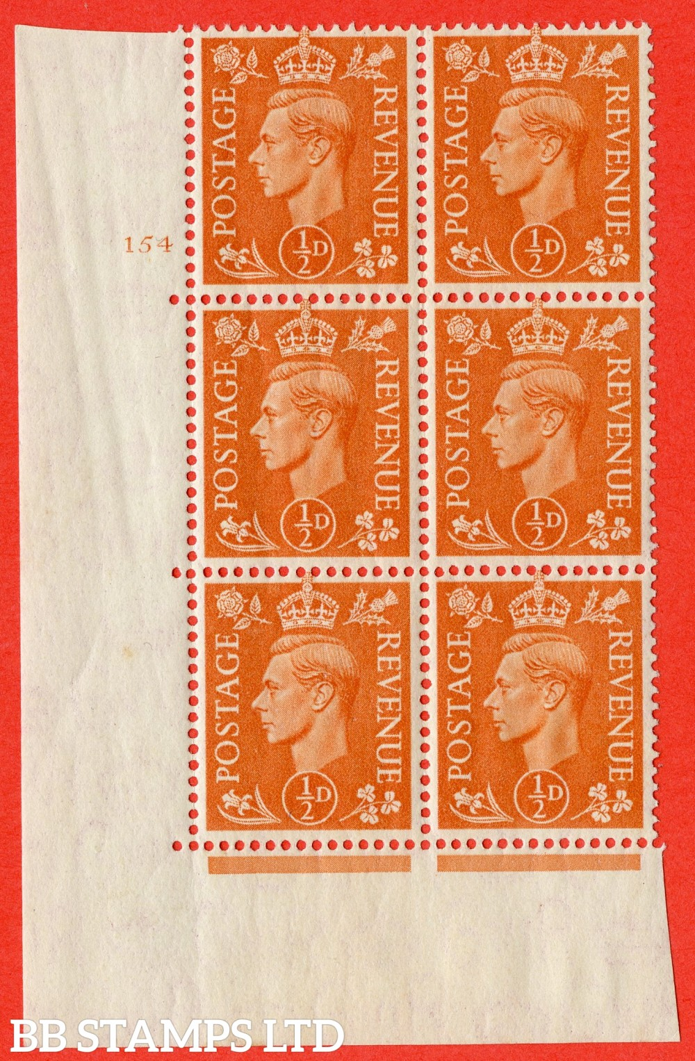 """SG. 503. Q3g. ½d Pale Orange. A superb UNMOUNTED MINT """" No Control cylinder 154 no dot """" control block of 6 with perf type 5 E/I. With listed variety """" Broken Middle E of Revenue """" Row 20/1."""