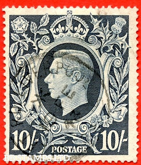 "SG. 478ac. Q32 (1)g. 10/- Dark blue. A very fine CDS used example with the listed variety "" Flaw on left side of scroll ""."