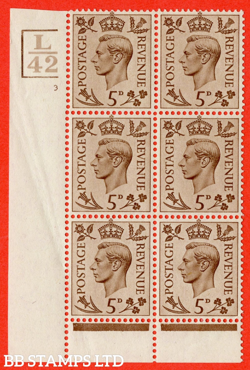 """SG. 469. Q21. 5d Brown. A fine lightly mounted mint.  """" Control L42. 3 Bars cylinder 3 no dot """" control block of 6 with perf type 6 I/P."""