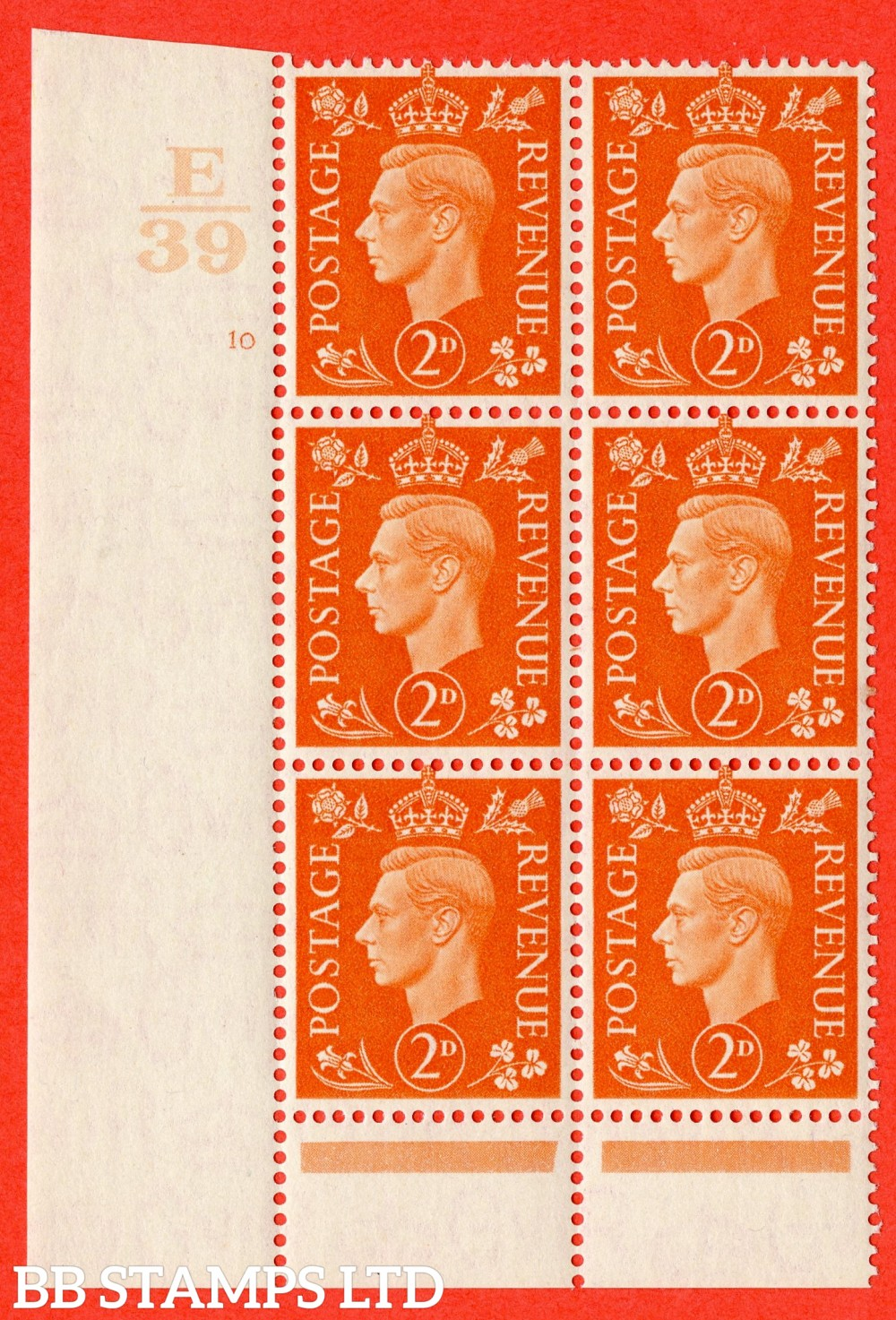 "SG. 465. Q10. 2d Orange. A very fine lightly mounted mint "" Control E39 cylinder 10 no dot "" control block of 6 with perf type 6 I/P."