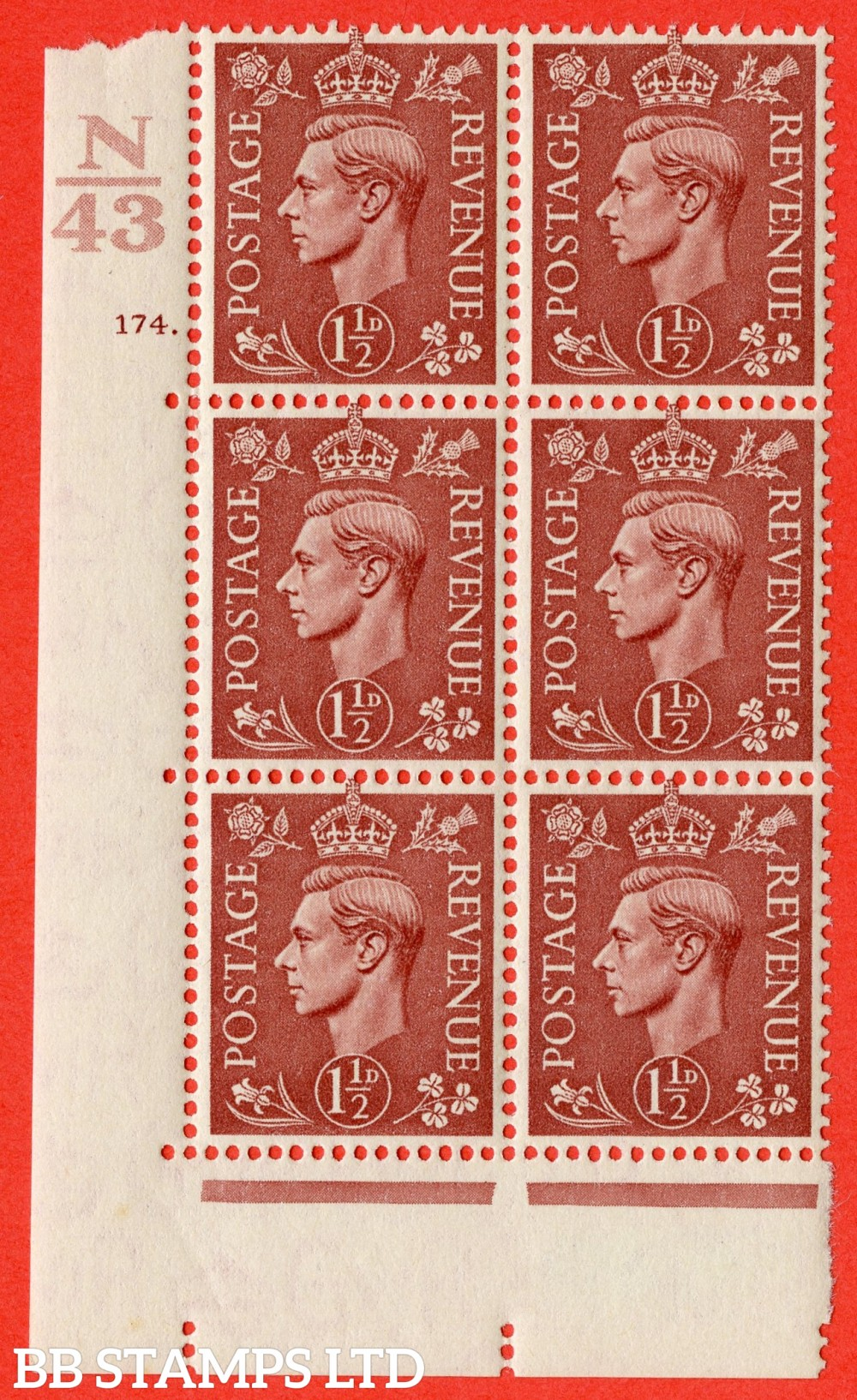 "SG. 487. Q8. 1½d Pale Red-Brown. A fine lightly mounted mint "" Control N43 cylinder 174 dot "" control block of 6 with perf type 5 E/I."
