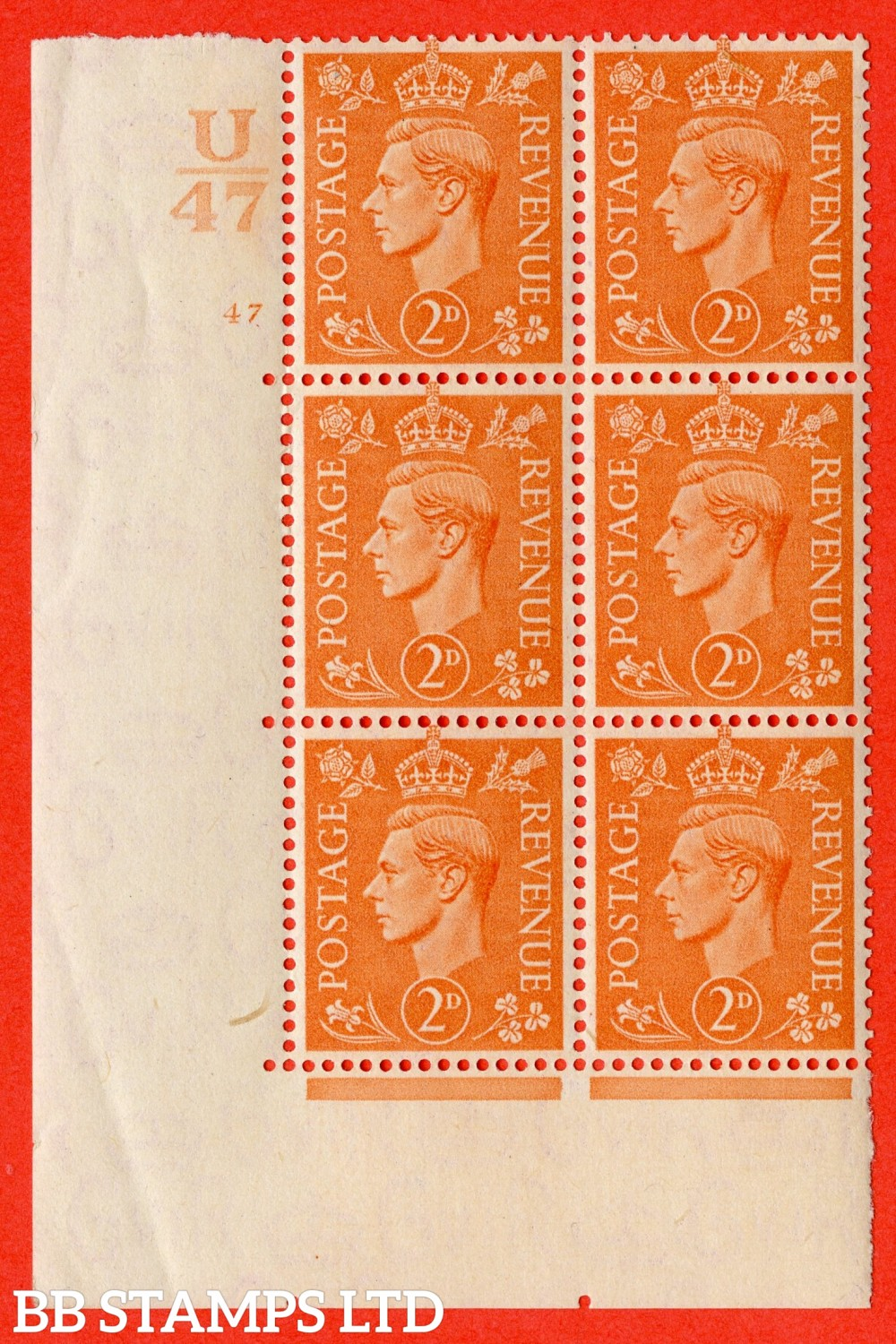 """SG. 488. Q11. 2d Pale Orange. A superb UNMOUNTED MINT """" Control U47 cylinder 47 no dot """" control block of 6 with perf type 5 E/I."""