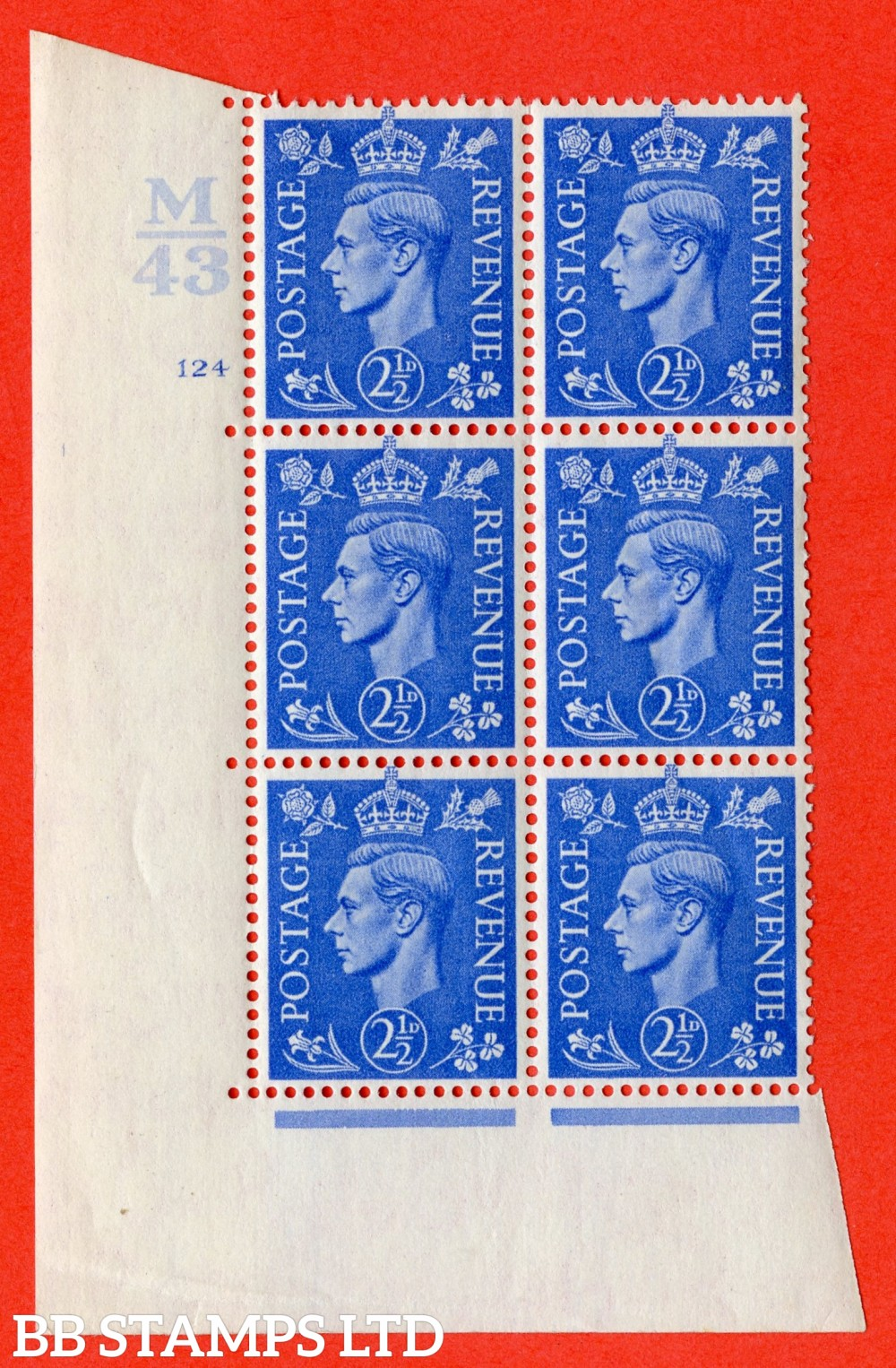 "SG. 489. Q14. 2½d Light ultramarine. A superb UNMOUNTED MINT "" Control M43 cylinder 124 no dot "" control block of 6 with perf type 5 E/I."