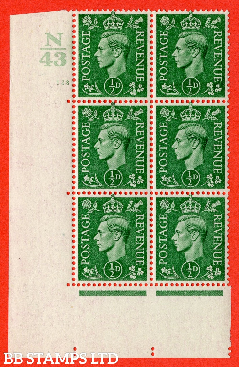 "SG. 485. Q2. ½d Pale Green. A very fine lightly mounted mint "" Control N43 cylinder 128 no dot "" block of 6 with perf type 5 E/I with marginal rule."