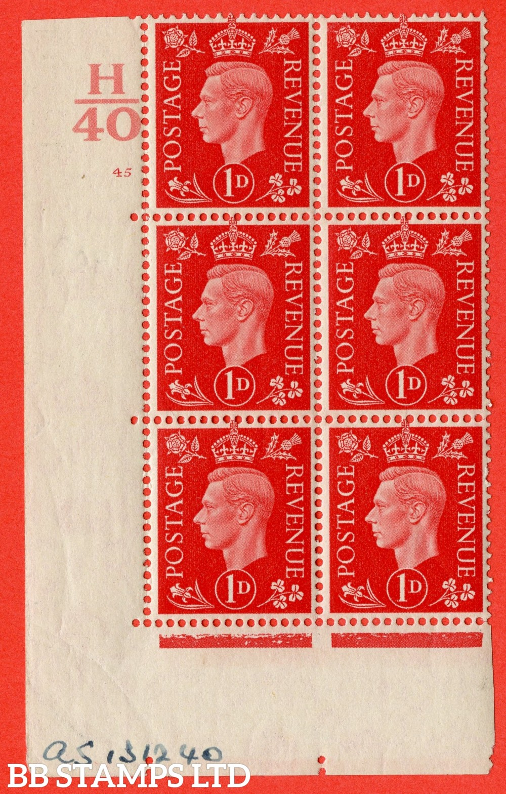"SG. 463. Q4. 1d Scarlet. A superb UNMOUNTED MINT "" Control H40 cylinder 45 no dot "" block of 6 with perf type 5 E/I with marginal rule."