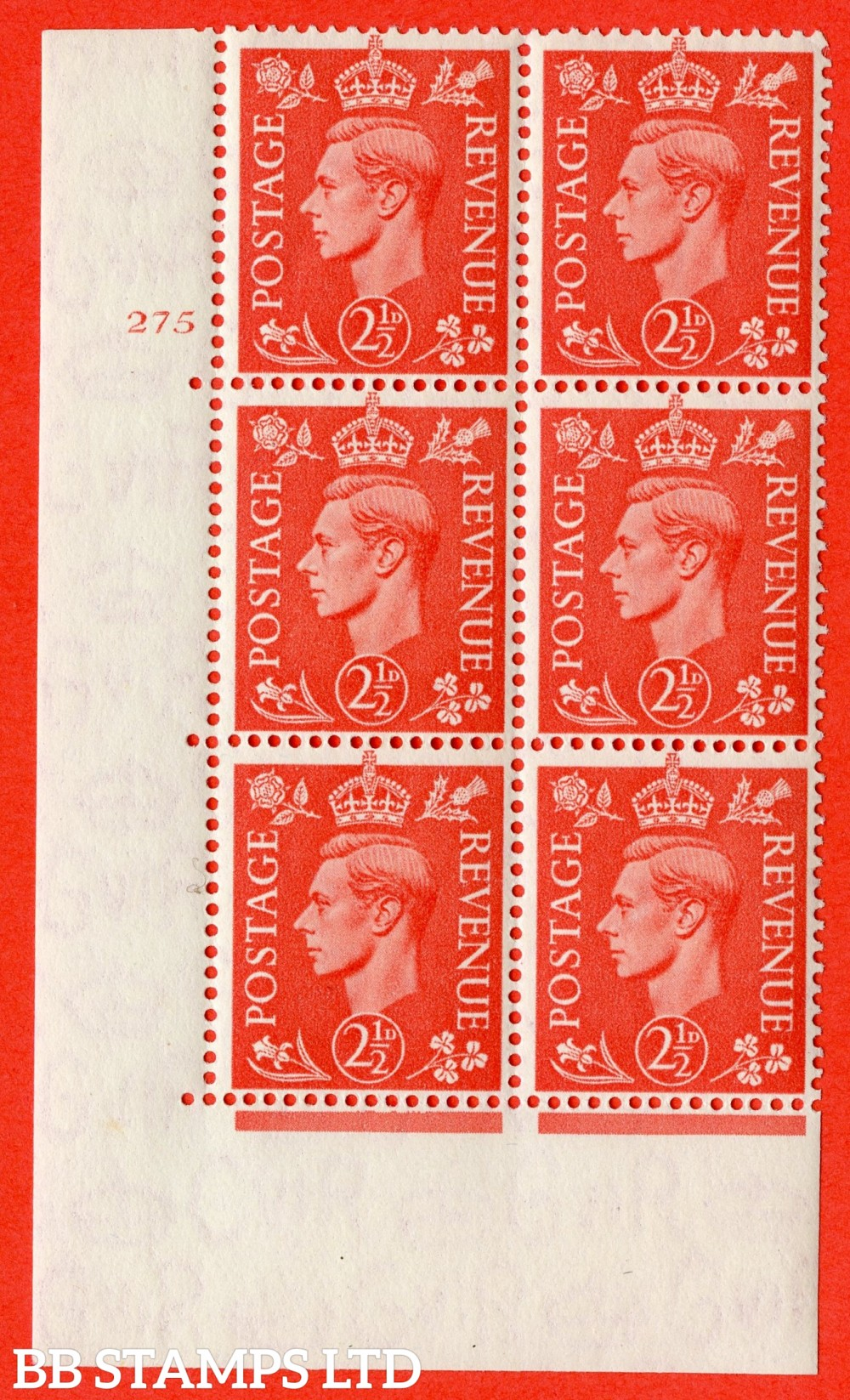 "SG. 507. Q15. 2½d Pale Scarlet. A fine lightly mounted mint "" No Control cylinder 275 no dot "" control block of 6 with perf type 5 E/I."