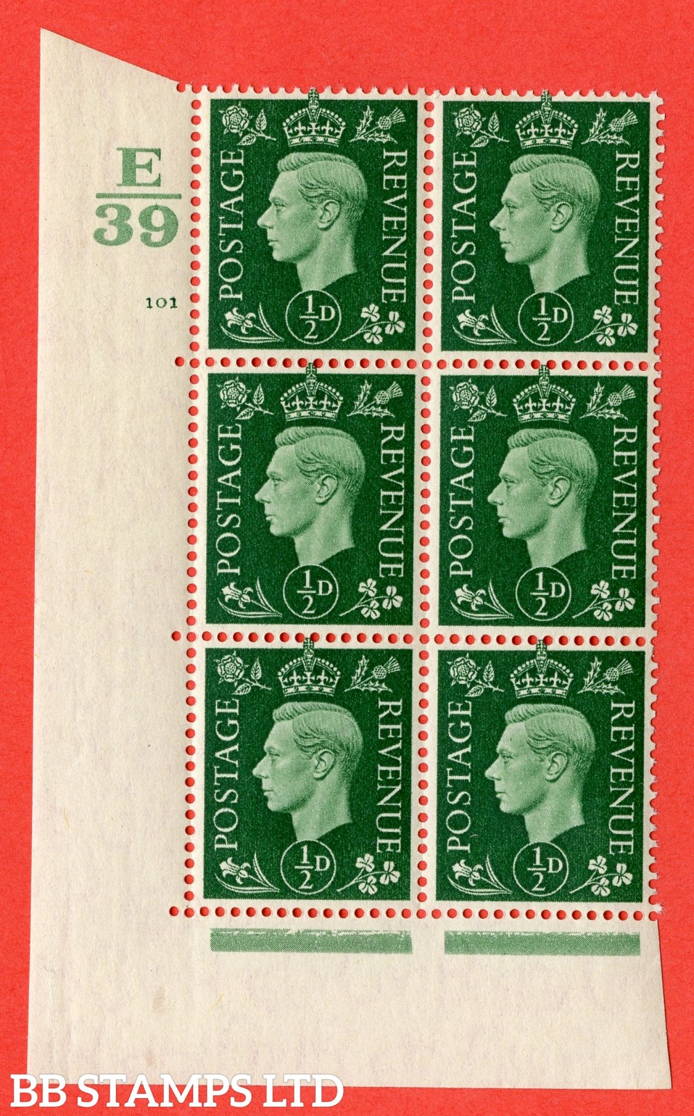 "SG. 462. Q1. ½d Green. A superb UNMOUNTED MINT "" Control E39 cylinder 101 no dot "" block of 6 with perf type 5 E/I with marginal rule."