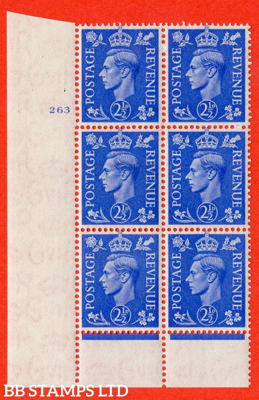 "SG. 489. Q14. 2½d Light ultramarine. A superb UNMOUNTED MINT "" No Control cylinder 263 no dot "" control block of 6 with perf type 6 I/P"