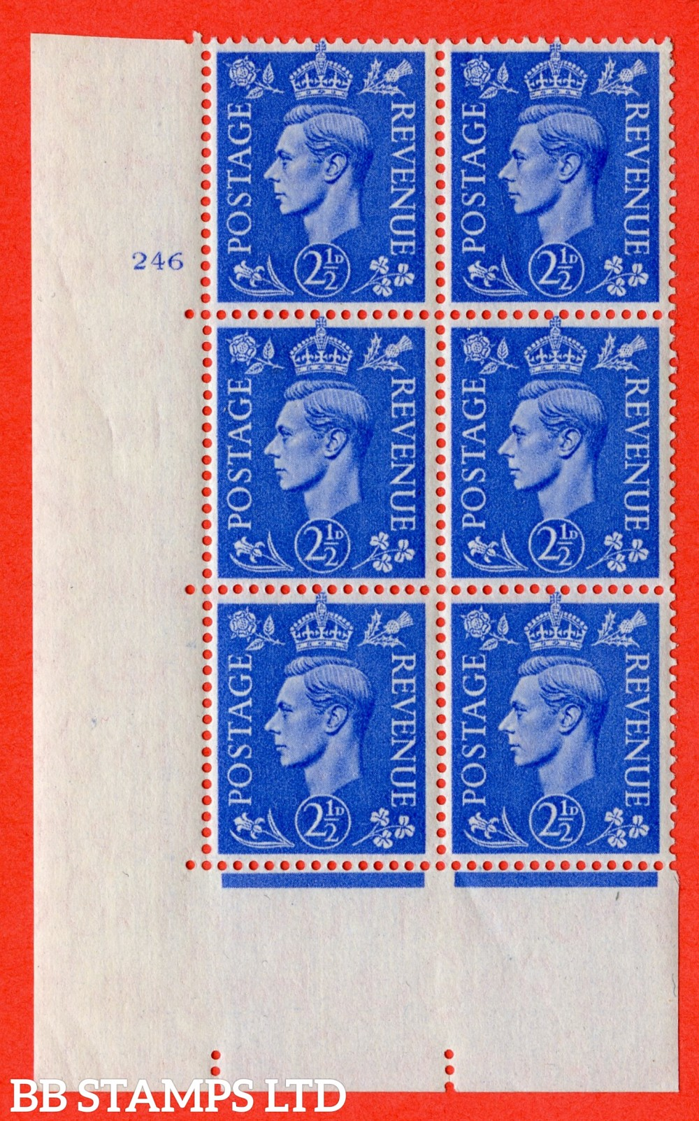 "SG. 489. Q14. 2½d Light ultramarine. A superb UNMOUNTED MINT "" No Control cylinder 246 no dot "" control block of 6 with perf type 5 E/I"