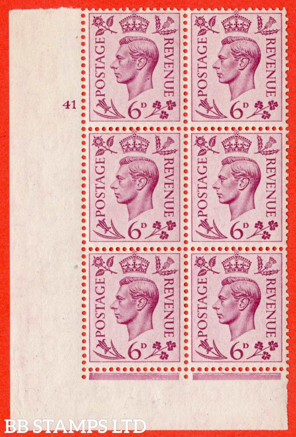 "SG. 470. Q22. 6d Purple. A superb UNMOUNTED MINT "" No Control cylinder 41 no dot "" control block of 6 with perf type 2 E/I"