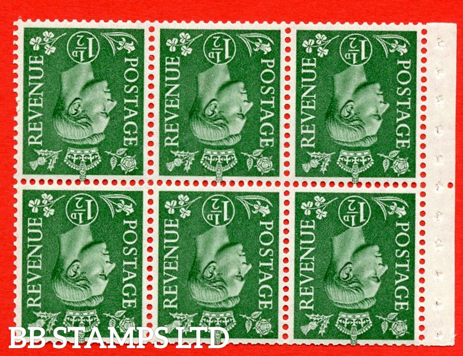 """SG. 505bw. QB26a. 1½d pale green. A superb UNMOUNTED MINT complete booklet pane. Perf type """" Iem """". Good Perfs"""