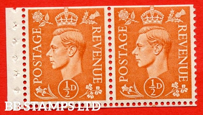 """SG. 503. QB9. ½d orange. A fine UNMOUNTED MINT complete booklet pane of 2. Perf type """" E  """". Trimmed Perfs."""
