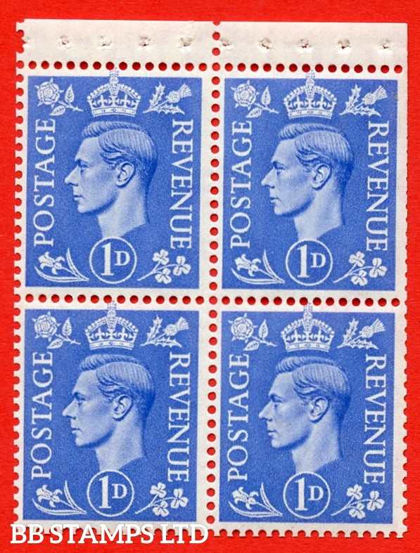 """SG. 504g. QB16b. 1d ultramarine. A fine MOUNTED MINT complete booklet pane of 4. Perf type """" P """". Trimmed Perfs."""