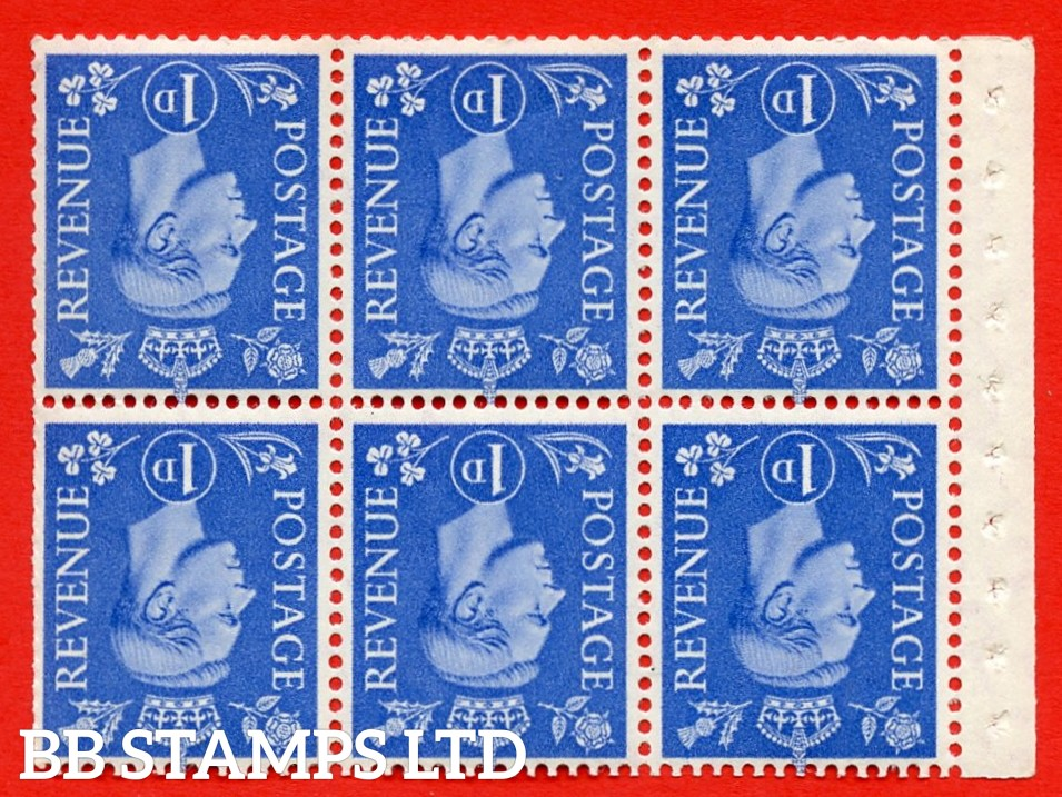 """SG. 504fw. QB15a. 1d ultramarine. Type 1c. A fine UNMOUNTED MINT. INVERTED WATERMARK. complete booklet pane of 6. Perf type """" Ieb """". Trimmed Perfs."""