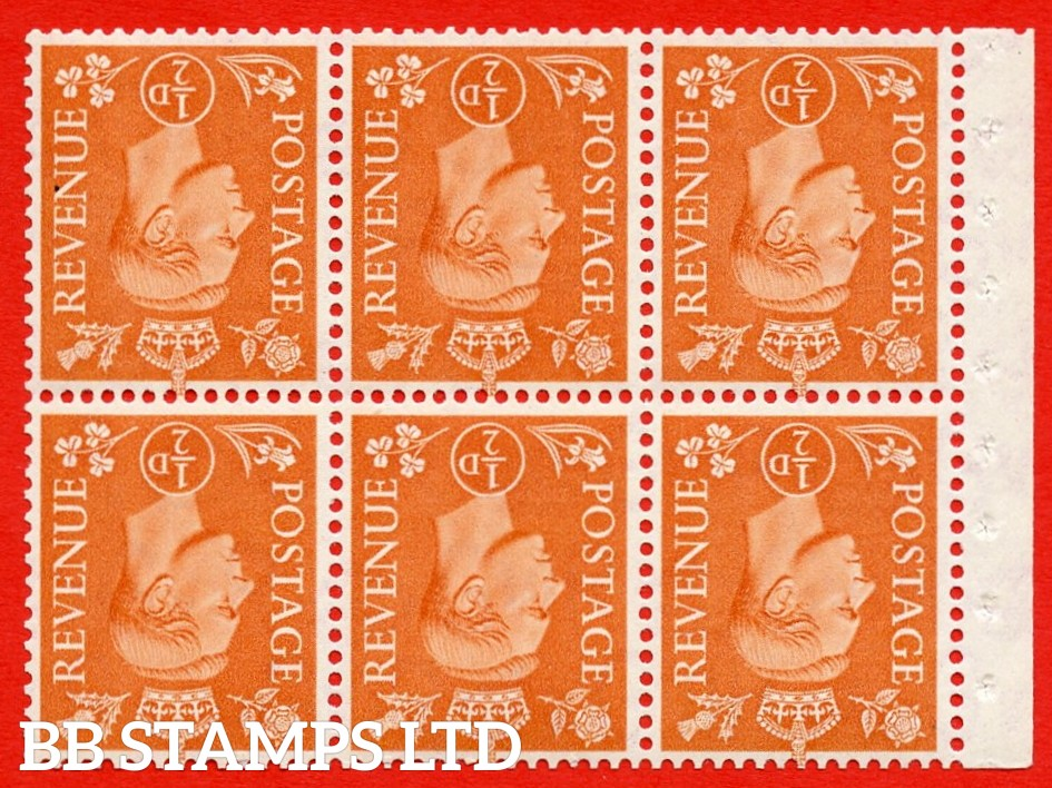"""SG. 503dw. QB7a. ½d orange. A fine MOUNTED MINT. INVERTED WATERMARK. complete booklet pane of 6. Perf type """" Ieb """". Good Perfs."""