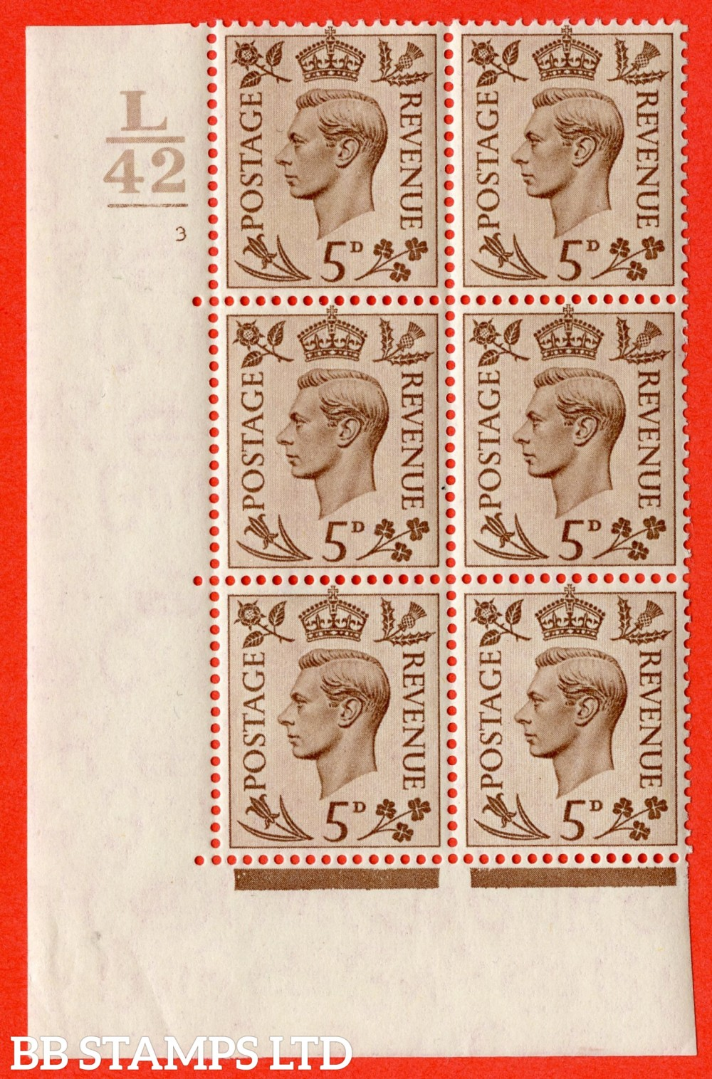 """SG. 469. Q21. 5d Brown. A fine lightly mounted mint.  """" Control L42. 1 Bar. Cylinder 3 no dot """" control block of 6 with perf type 5 E/I."""