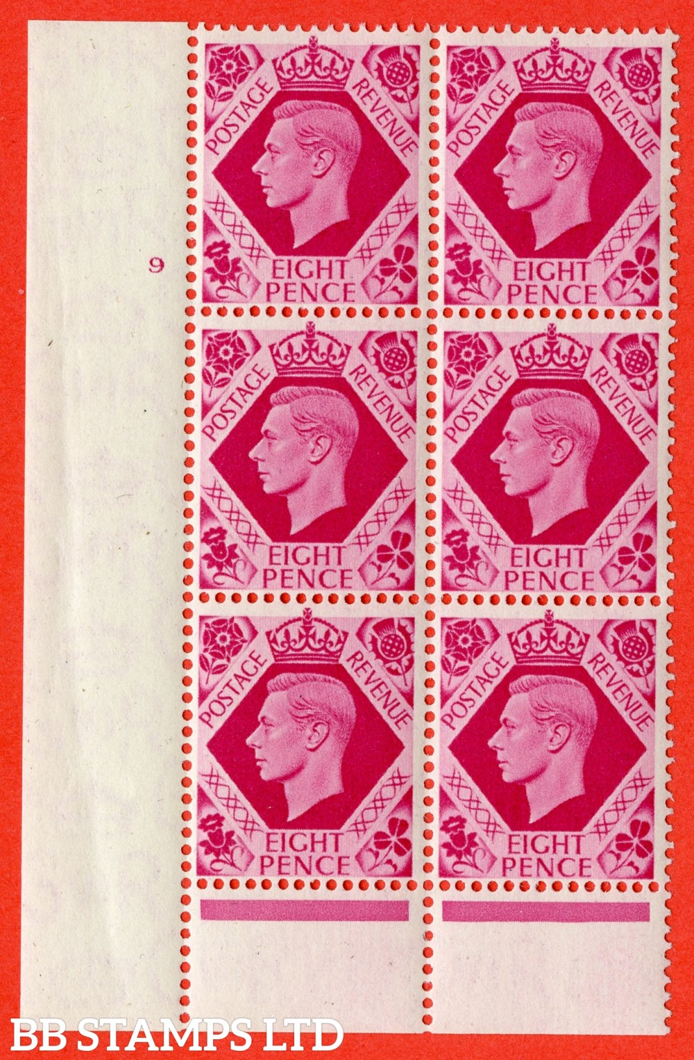 "SG. 472. Q24. 8d Carmine. A superb UNMOUNTED MINT "" No Control cylinder 9 no dot "" control block of 6 with perf type 6 I/P."