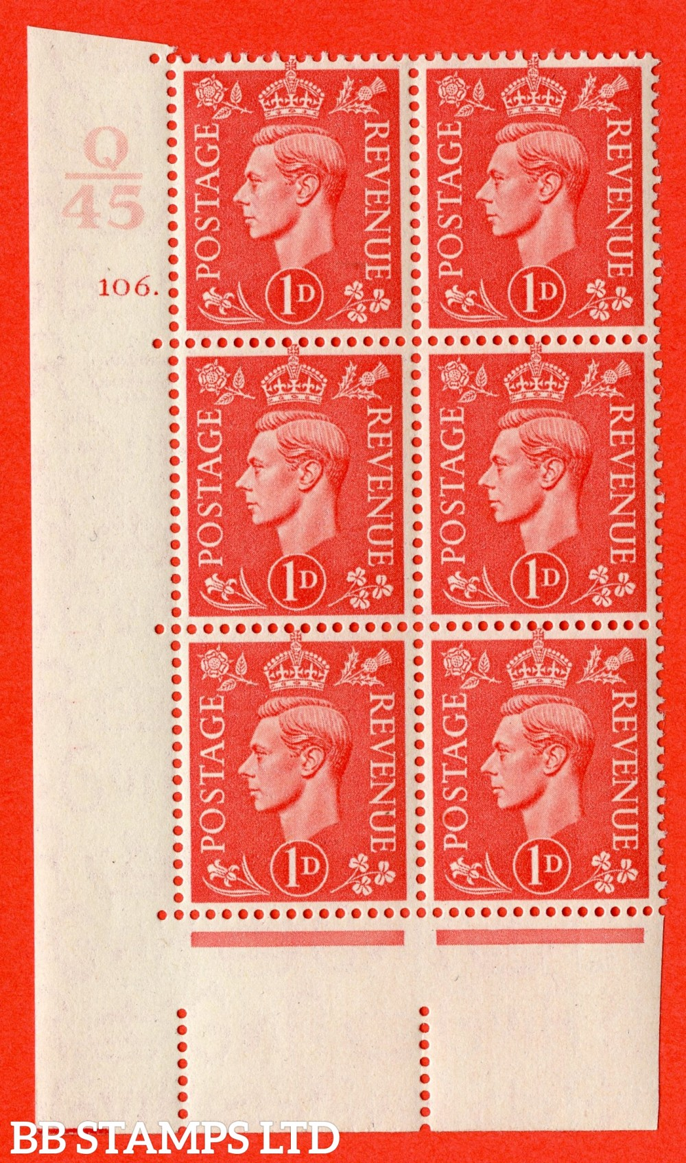 "SG. 486. Q5. 1d Pale scarlet. A superb UNMOUNTED MINT "" Control Q45  cylinder 106 dot "" control block of 6 with perf type 5 E/I."