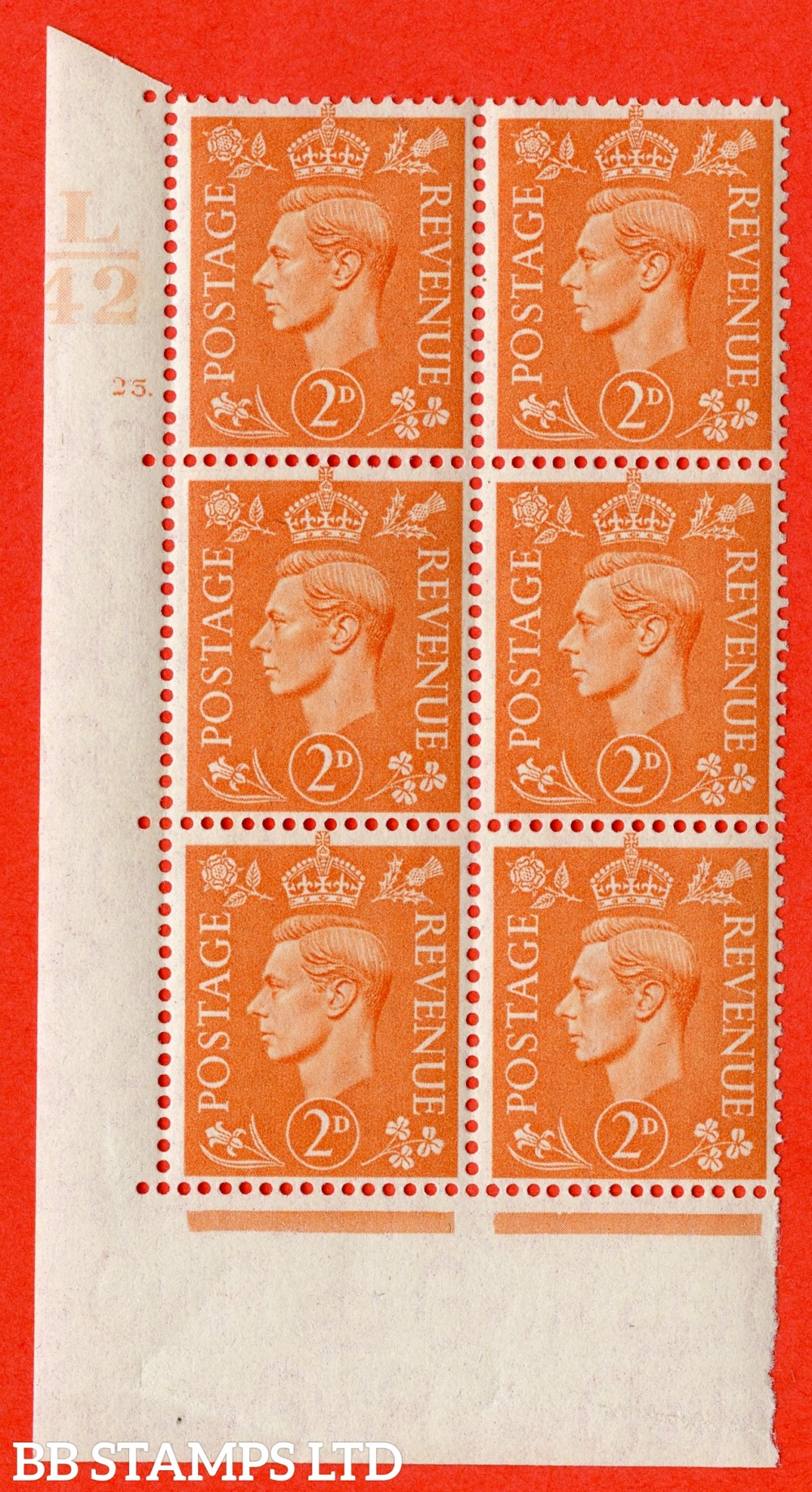 """SG. 488. Q11. 2d Pale Orange. A superb UNMOUNTED MINT """" Control L42 cylinder 25 dot """" control block of 6 with perf type 5 E/I."""