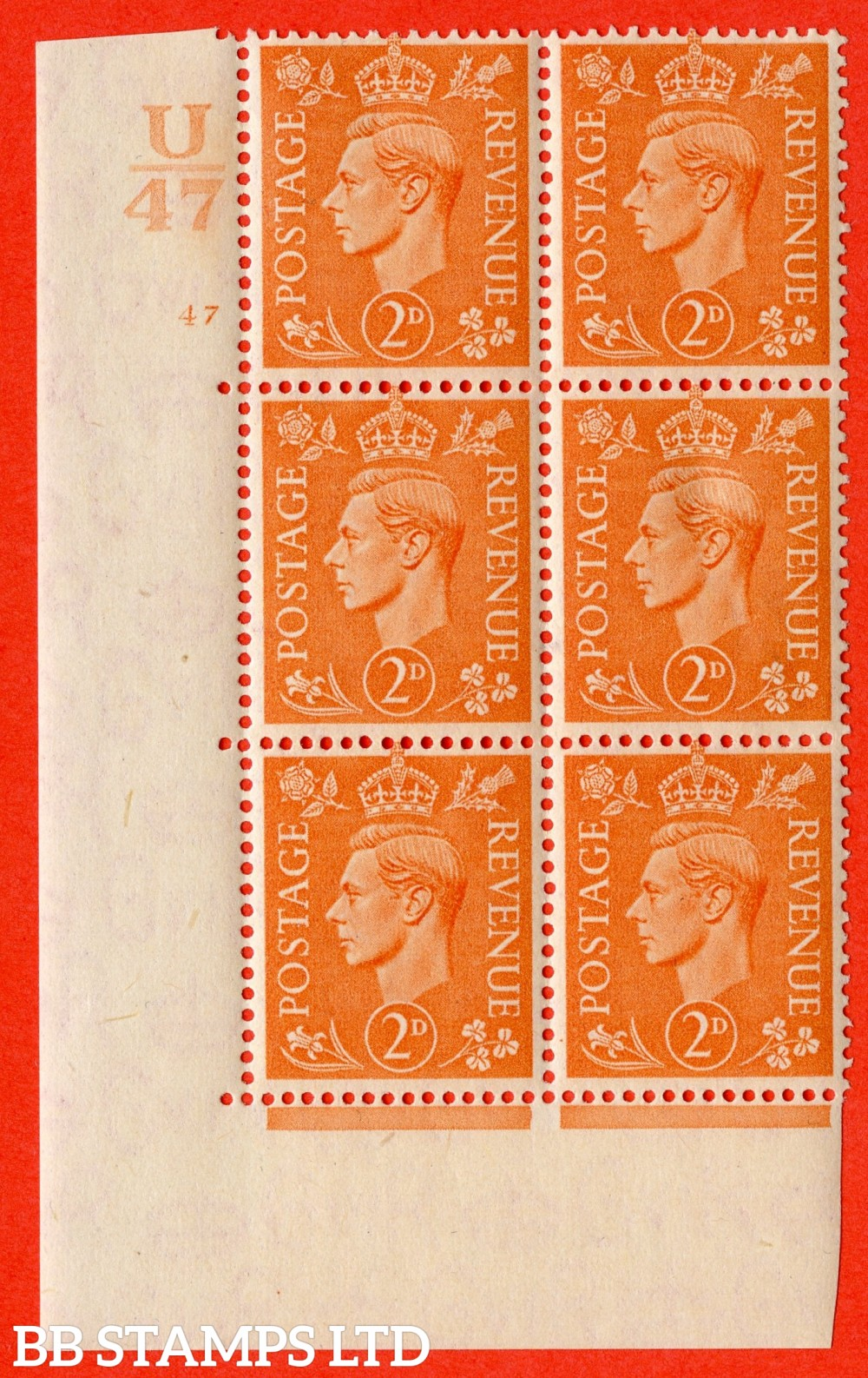 "SG. 488. Q11. 2d Pale Orange. A fine lightly mounted mint "" Control U47 cylinder 47 no dot "" control block of 6 with perf type 5 E/I."