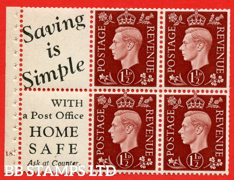 """QB23 Perf Type B4A(I) (10) 1½d Red-Brown x 6 Pane, UNMOUNTED MINT. Cylinder Pane G18 no dot ( SG. 464b ) Perf type B4A(I). """" Saving is Simple / (""""is"""" 4.5mm. High) Home Safe """". Trimmed Perfs."""