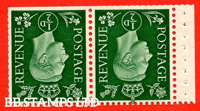 SG. 462 cw. QB3a. ½d Green. A fine MOUNTED MINT  complete booklet pane. Inverted Watermark Perf type ' I '. Trimmed Perfs.