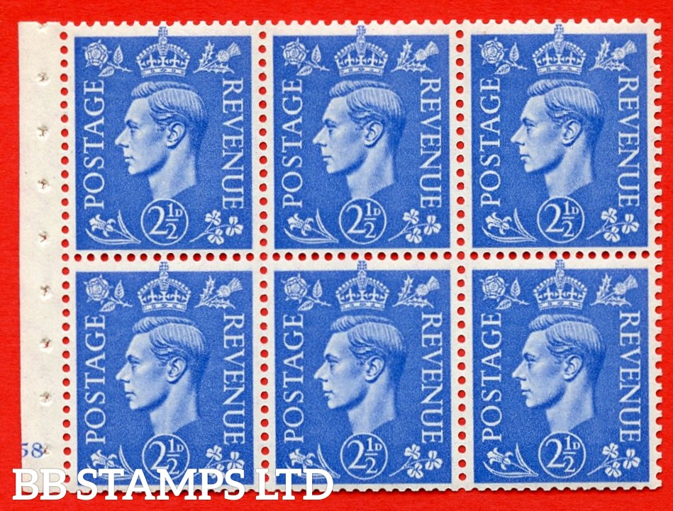 """SG. 489f. QB33. 2½d blue. A fine UNMOUNTED MINT complete Cylinder pane of 6 J58 No dot. Perf type """"B3(I)"""". Good Perfs."""