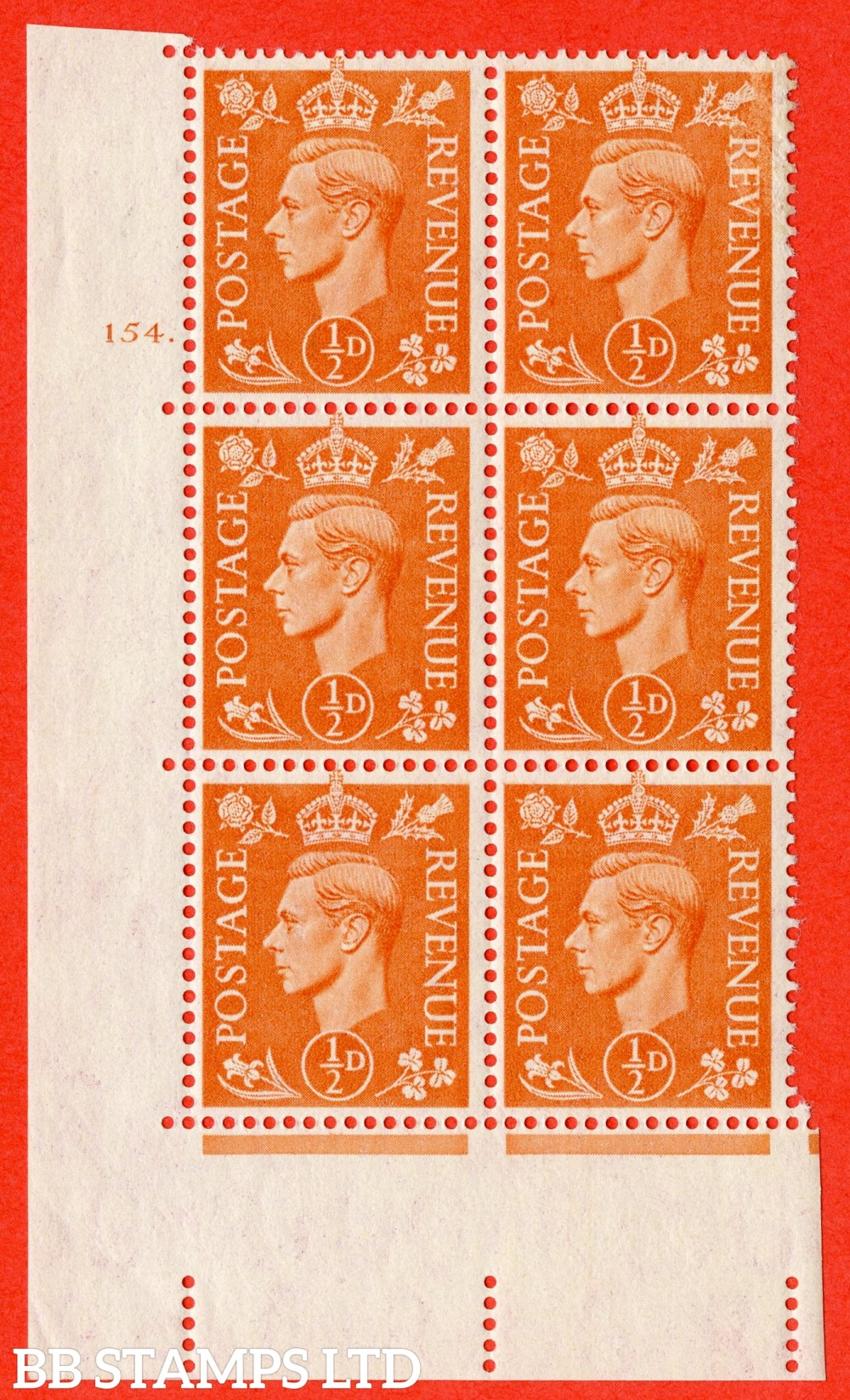 """SG. 503. Q3. ½d Pale Orange. A fine lightly mounted mint """" No Control cylinder 154 dot """" control block of 6 with perf type 5 E/I."""