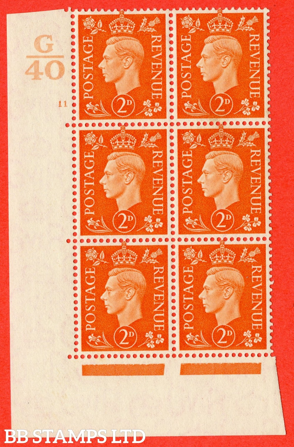 "SG. 465. Q10. 2d Orange. A fine lightly mounted mint "" Control G40 cylinder 11 no dot "" control block of 6 with perf type 5 E/I."