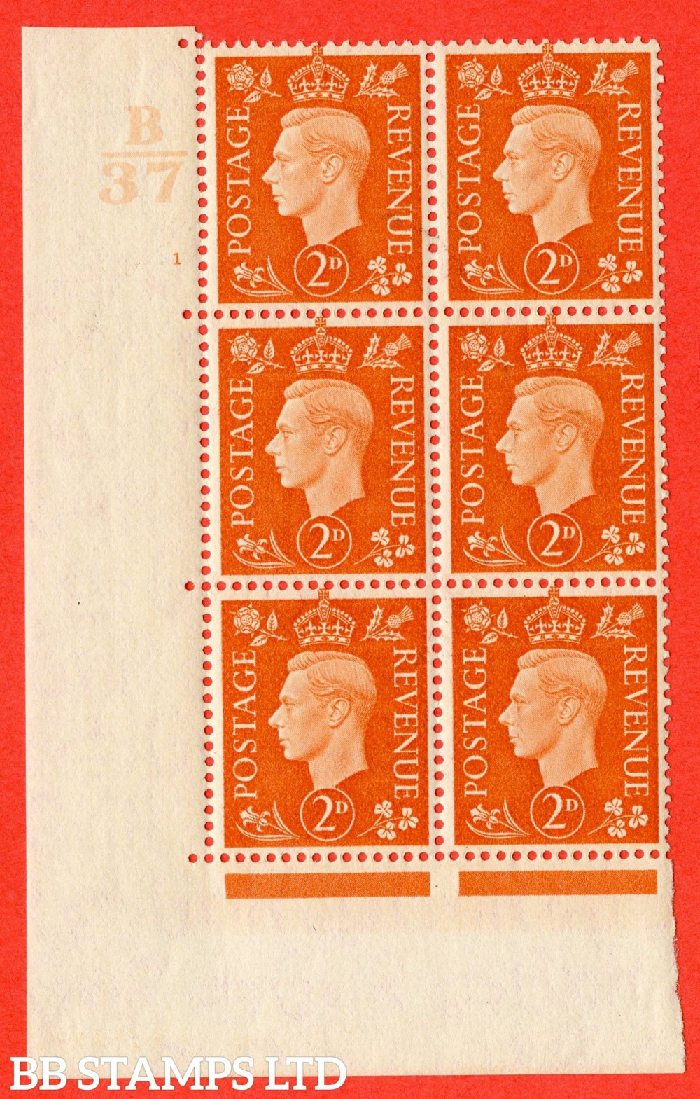 "SG. 465. Q10. 2d Orange. A superb UNMOUNTED MINT"" Control B37 cylinder 1 no dot "" control block of 6 with perf type 5 E/I."