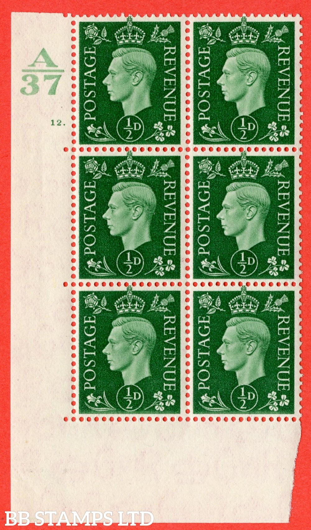 "SG. 462. Q1. ½d Green. A superb UNMOUNTED MINT "" Control A37 cylinder 12 dot "" block of 6 with perf type 5 E/I without marginal rule."