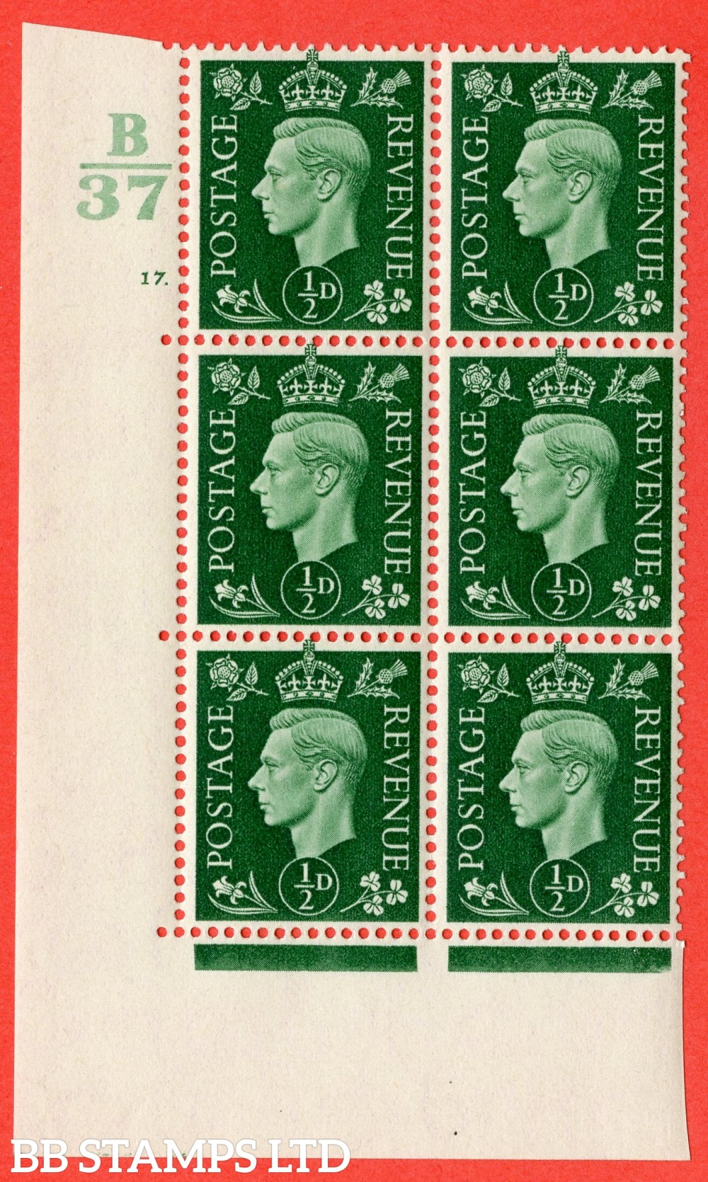 """SG. 462. Q1. ½d Green. A superb UNMOUNTED MINT """" Control B37 cylinder 17 dot """" block of 6 with perf type 5 E/I."""